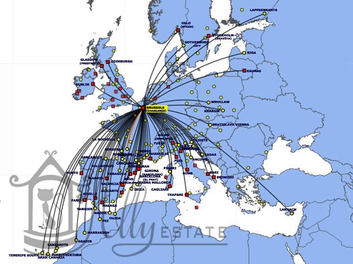 Схема полетов Ryanair